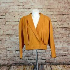 Ladies Leather Blouson Jacket 1980 Style Mustard Made in UK Size S