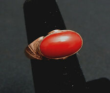 Wonderful Antique Deep Red Coral and 18k Gold Saddle Ring Size 5 1/2