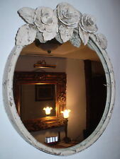 FRENCH VINTAGE CHIC METAL ROSE,LEAVES OVAL MIRROR