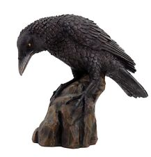 BLACK RAVEN PERCHING ON CLIFF AWAITING PREY FIGURINE STATUE.BIRD COLLECTIBLE.NEW