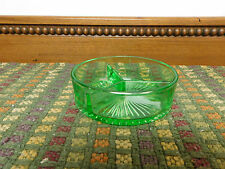 Vintage Green Depression Glass Divided Relish, Nut Dish