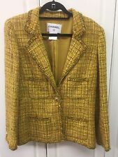 CHANEL Jacket Cruise 2011 SZ 48 Gold Wool Mohair Gold Thread Plaid Boucle Trim