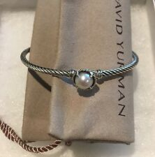 DAVID YURMAN WOMENS SILVER CABLE BUCKLE BRACELET PEARL PERFECT VALENTINE'S GIFT
