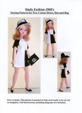 Sindy patrón de costura para década de 1960 Bicolor Vestido, sombrero y bolso.