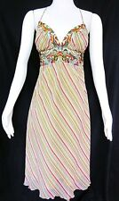 NICOLE MILLER Collection Silk Multi-Color Embroidered Halter Dress SIZE 6