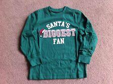BNWT Gymboree Green Long Sleeved Top Santa's Biggest Fan 5 Years