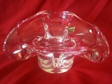 Vintage Czech BOHEMIA Art Glass by CHRIBSKA vase/bowl -  Pink & Clear Glass