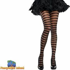 STRIPED PUNK TIGHTS - One Size - womens ladies fancy dress costume accessory