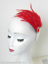 Red & Silver Feather Headpiece Fascinator Headband Vintage Flapper 1920s 30s N67