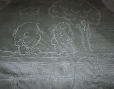 CHARLIE BROWN Sweater Arrow SNOOPY LINUS Unisex Large L Vintage Blue Stitched