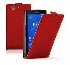 Ultra Slim RED Leather Case Cover Saver For Sony Xperia Z3 COMPACT experia