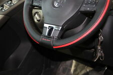 "Circle Cool 47013 Steering Wheel Cover Wrap Black+Red Pvc Leather 14.5""-15"""