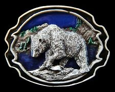 GRIZZLY POLAR BLACK BEAR RIVER FISHING BELT BUCKLE BOUCLE DE CEINTURE