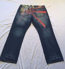 Mens Akademiks Acid Wash Blue Denim Jeans 42 Embroidered Distressed Big Tall