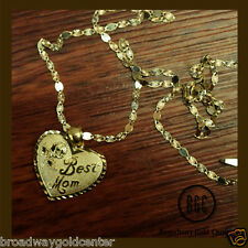 Best Mom Heart Design Necklace Valentino Link Chain 14k Solid Yellow Gold