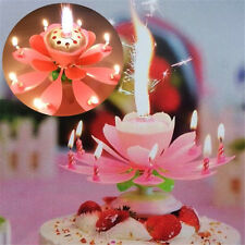 Pink Romantic Rotatable Beautiful Musical Blossom Lotus Flowers Birthday Candle