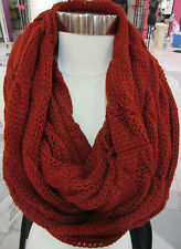 Cable Knit Scarf Infinity Dark Red Long Wide Circle Wear many Ways NWT DC717