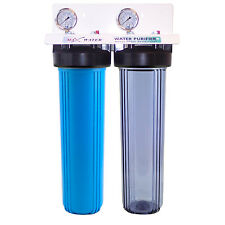 "20""x4.5 Big Blue Two Stage Clear Whole House Water Filter System, Pressure Gauge"