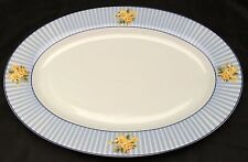 Laura Ashley Brighton Rose Oval Serving Platter Blue White Stripes Yellow Roses