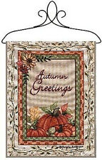 Autumn Greetings ~ Fall Pumpkins Tapestry Bannerette Wall Hanging