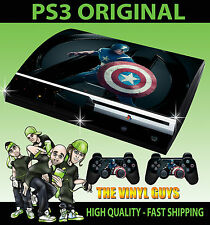 PLAYSTATION PS3 ORIGINAL STICKER CAPTAIN AMERICA  AVENGERS SKIN & 2 PAD SKINS