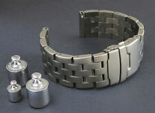 24mm HEAVY SOLID TITANIUM BRUSHED STAINLESS STEEL WATCH BAND,BRACELET MEN + PINS