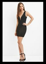NWT FOREVER 21 Deep V Textured Bodycon Dress Large Black L LBD Mini Cocktail