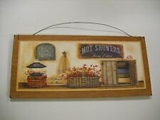 bath house open 24 hours hot showers soap extra country wooden wall art sign