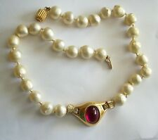 Lovely Vintage CINER Faux Pearl & Ruby Cabochon Necklace