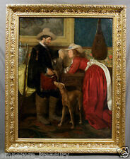 Oil painting - Classic Italian Interior with Gentleman, Lady and Greyhound Dog