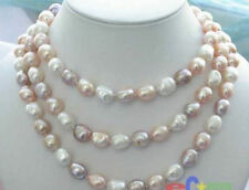 "Rare! long 45 ""7-8mm baroque white+Pink+Purple freshwater pearl necklace AAA"