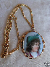 ANTIQUE VICTORIAN HAND PAINTED GIRL HAT PORTRAIT PORCELAIN PENDANT NECKLACE