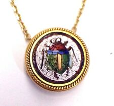 Enchanting 14K 18K Gold Antique Victorian Micro Mosaic Egyptian Scarab Necklace