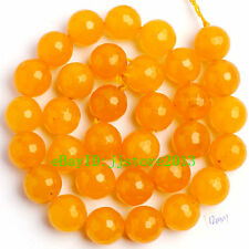 """12mm Natural Yellow Jade Faceted Round Shape Gemstone Loose Beads Strand 15"""""""