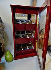 Burl Wood Lit Glass Display Case 18 Watch Lure Memorabilia 3 Removable Trays
