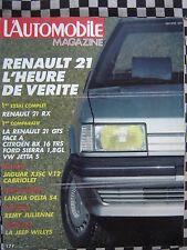 revue L'AUTOMOBILE 1986 JAGUAR XJS C V12 / CITROEN BX 16 TRS / TOYOTA CELICA 16S