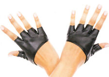 MU Gloves Short Faux Leather Fingerless Biker Knuckle Warmers Nylon 1 Size Black
