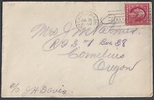 US 1910 Sc 349 COIL STAMP PERF 12 HORIZ TIED SEATTLE WASH JULY 25 1910 TO CORNEL