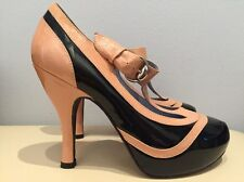 JEFFREY CAMPBELL 7 M BEIGE BLACK PATENT LEATHER T STRAP PLATFORM PUMPS HEELS