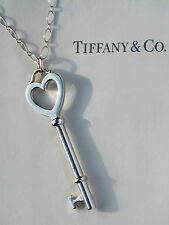 Tiffany & Co Sterling Silver Large 2 Inch Heart Key 24 Inch Oval Link Necklace