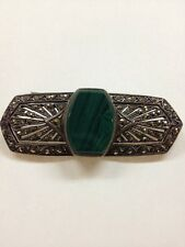 Vintage Sterling Silver Marcasite And Malachite Brooch