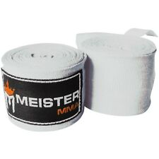 "MEISTER WHITE 180"" ELASTIC HAND WRAPS - MMA Mexican Boxing Gloves Wrist (PAIR)"