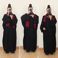 Casual Loose Black Linen Maxi Long Dress Kaftan Lagenlook Plus Size 20 22 24 26