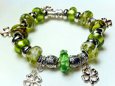 "European Charm Bracelet 7.75""-Pandora Marked 925-Lucky Irish Green Halloween"