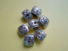 8 x tibetan silver,mixed gems square charms/beads ,fits bracelets CLEARANCE SALE
