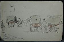 Dessin Original Aquarelle PAUL COUVREUR Les Calèches vers 1930 PC130