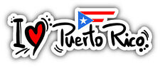 "I Love Puerto Rico Slogan Car Bumper Sticker Decal 8"" x 3"""