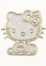 HELLO KITTY SILVER GOLD IRON ON EMBROIDERED FABRIC APPLIQUE PATCH USA SELLER