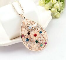 RF 18K Gold Plated Opal Crystal Big Tear Drop Sweater Chain Pendant Necklace