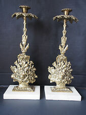 Antique Pair (2) Brass Flowers Baskets Candelabra Candle Holders Marble Base 15""
